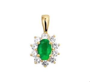 14 krt geelgouden dames hanger smaragd en zirkonia glanzend  van het sieradenmerk BloomGold model 2284434019564