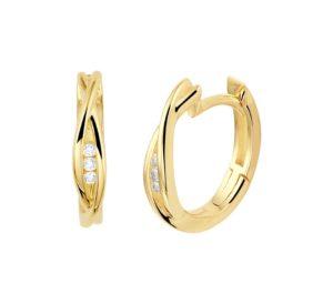 14 krt geelgouden dames klapoorringen diamant 0.06ct (2x 0.03ct)  h si glanzend  van het sieradenmerk BloomGold model 2284434022845