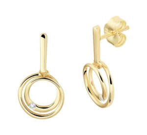 14 krt geelgouden dames oorhangers rond diamant 0.040ct (2x 0.02ct) h si glanzend  van het sieradenmerk BloomGold model 2284434022879