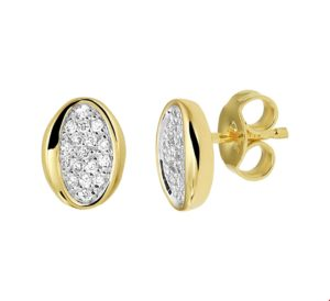 14 krt geelgouden dames oorknoppen diamant 0.16ct (2x0.08ct) h si glanzend  van het sieradenmerk BloomGold model 2284434020605