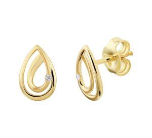 14 krt geelgouden dames oorknoppen druppel diamant 0.02ct (2x 0.01ct) h si glanzend  van het sieradenmerk BloomGold model 2284434022541