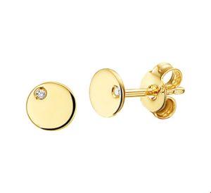 14 krt geelgouden dames oorknoppen rondje diamant 0.01ct (2x0.005ct) h si glanzend  van het sieradenmerk BloomGold model 2284434019465