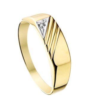 14 krt geelgouden heren ring diamant 0.005ct h p1 gediamanteerd  van het sieradenmerk BloomGold model 2284434014695
