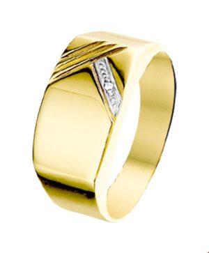 14 krt geelgouden heren ring diamant 0.005ct h p1 gediamanteerd  van het sieradenmerk BloomGold model 2284434014698