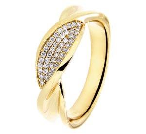 14 krt geelgouden dames ring diamant 0.22ct h si glanzend  van het sieradenmerk BloomGold model 2284434017584