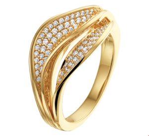 14 krt geelgouden dames ring diamant 0.38ct g vsi glanzend  van het sieradenmerk BloomGold model 2284434018719