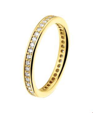 14 krt geelgouden dames ring diamant 0.50ct h si glanzend  van het sieradenmerk BloomGold model 2284434014075