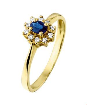 14 krt geelgouden dames ring saffier en diamant 0.08ct h p1 glanzend  van het sieradenmerk BloomGold model 2284434015007