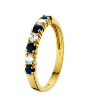 14 krt geelgouden dames ring saffier en zirkonia glanzend  van het sieradenmerk BloomGold model 2284434015591