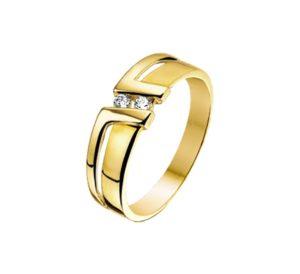 14 krt geelgouden dames ring zirkonia poli/mat mat glanzend  van het sieradenmerk BloomGold model 2284434015131
