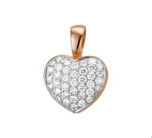 14 krt roségouden dames hanger hart diamant 0.50ct h si glanzend  van het sieradenmerk BloomGold model 2284434400068