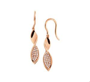 14 krt roségouden dames oorhangers diamant 0.24ct (2x0.12ct) h si glanzend  van het sieradenmerk BloomGold model 2284434400642