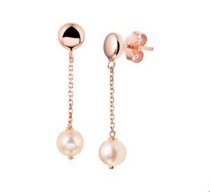 14 krt roségouden dames oorhangers roze parel glanzend  van het sieradenmerk BloomGold model 2284434400954