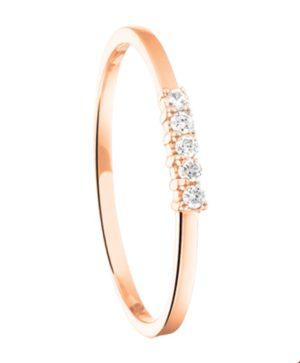 14 krt roségouden dames ring diamant 0.07ct h si glanzend  van het sieradenmerk BloomGold model 2284434400535