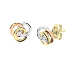 14 krt tricolor gouden dames oorknoppen tricolor glanzend  van het sieradenmerk BloomGold model 2284434300037
