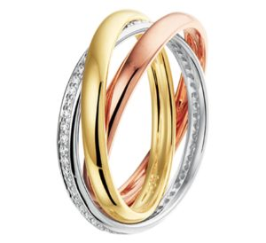 14 krt tricolor gouden dames ring tricolor diamant 0.29ct h si glanzend  van het sieradenmerk BloomGold model 2284434300495