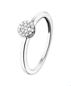 14 krt witgouden dames ring diamant 0.095ct h si glanzend  van het sieradenmerk BloomGold model 2284434103042