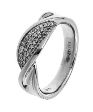 14 krt witgouden dames ring diamant 0.22ct h si glanzend  van het sieradenmerk BloomGold model 2284434104018