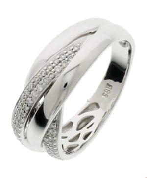 14 krt witgouden dames ring diamant 0.31ct h si glanzend  van het sieradenmerk BloomGold model 2284434103907